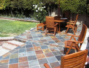 Outdoor patio tile installation